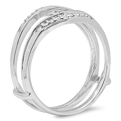 0.12 Carat (ctw) 10K White Gold White Diamond Ladies Enhancer Guard Wedding Band (Size 5.5)