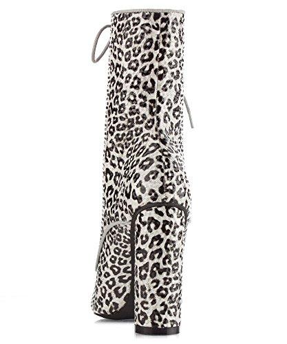Cape Robbin PAW-50 Womens Satin Lace Up Fashion Ankle Booties Leopard Pu WPkjLwW96s