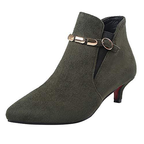 Hunzed Women Shoes Suede Pointed Low Heel Metal Chain Women's mid-Heel Booties (Green, 6.5)
