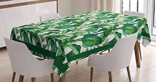 r Tablecloth, Large Tropical Leaves Pattern Jungle Beach Island Theme Party Decorations, Rectangular Table Cover for Dining Room Kitchen, 60x84 Inch, White Green ()