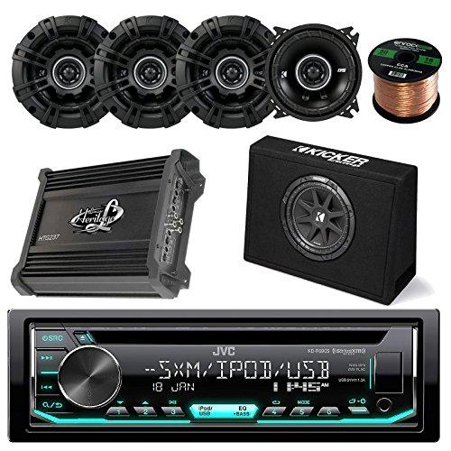 """JVC KD-R670 CD AM/FM Receiver Bundle Combo W/ Kicker 10"""" 300W Audio Subwoofers + 4x Kicker DSC44 4"""" Inch 120w Coaxial Speakers + Lanzar HTG237 1000W Stereo Amplifier + Enrock 50Ft 16g Speaker Wire"""