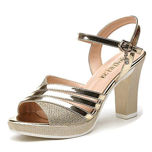 fondo spesso tacchi UE estate Golden alti ladies' RUGAI sandali Ladies' tacchi sandali zOgqp8xw