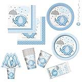 Unique Umbrellaphants Blue Party Bundle | Luncheon & Beverage Napkins, Dinner & Dessert Plates, Table Cover, Cups, Decor | Great for Baby Boy Showers