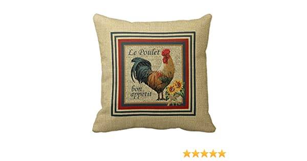 LINKWELL 18x18 inches Retro Big Rooster Pattern Burlap Throw Cushion Cover Pillow Cover CC1298 Linkwell Home Decor