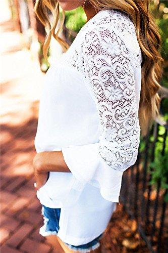 Shirt Camicetta Girocollo Pizzo Casual Camicia Tops T Donna Bianco Chiffon Elegante Maglia Lunga Maniche shirt Blusa BAINASIQI Ufficio 6wHaf