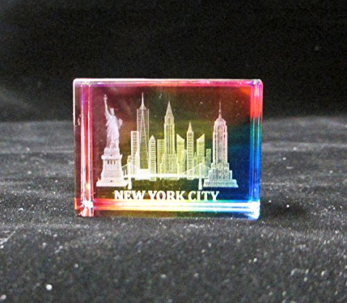 - New York Souvenir NYC Skyline 3D Color Crystal Laser Etched Glass Paperweight with Statue of Liberty Empire State Building Freedom Tower USA Flag Mini Size (901C)