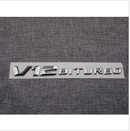 3D font Chrome V12 BITURBO Letters Fender Emblems Badges for Mercedes Benz AMG (V12 Badge)