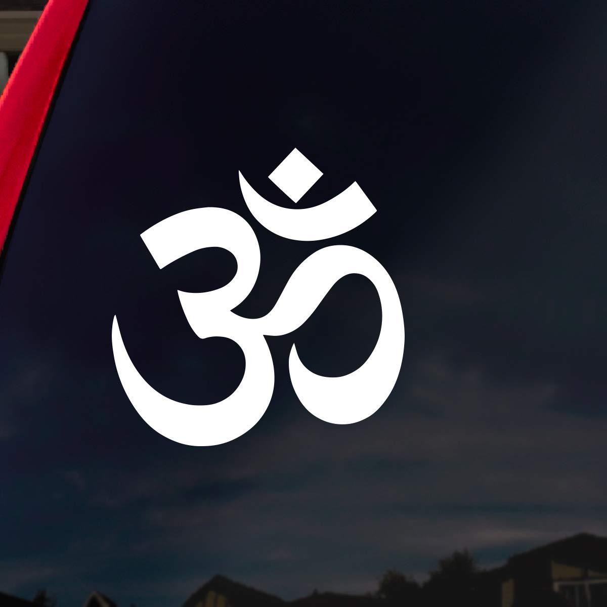 Amazon com socooldesign om symbol hindu car window vinyl decal sticker 4 wide white automotive