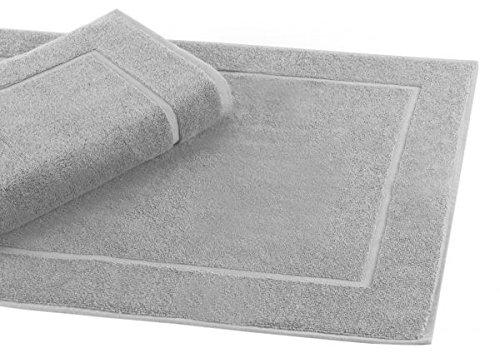 Betz Badvorleger Größe 50x70 cm 100% Baumwolle Badematte Badteppich Duschvorlage Premium Qualität 650 g/m² Farbe Silber Grau