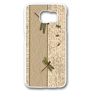 Samsung Galaxy S6 Case Cover,Dragonfly Insects Words Case for Samsung Galaxy S6 White Plastic Hard Shell Case