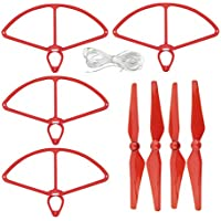 UUMART DJI Phantom 4 RC Quadcopter Spare Parts 4 Propellers And 4 Prop Guards-Red