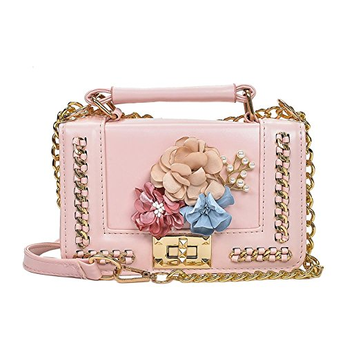 Sac Fleurs Bandoulière Filles Sac Femmes Porté Mini Chaîne PU à Designers Perles Rose épaule à Cabina Crossbody Bag Sac La Main 6fxCqC