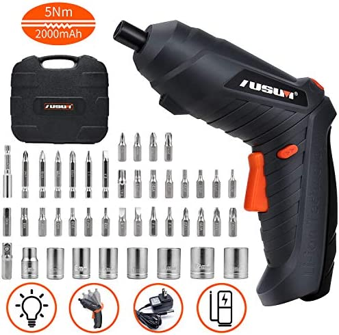 Electric Screwdriver, 5 N.m Cordless Screwdriver Rechargeable 2000 mAh Li-on Battery with 44 Pcs Screw Bits for Home DIY and Fit for Ladies, Newbies and Experienced, Front LED Light, Carrying Box