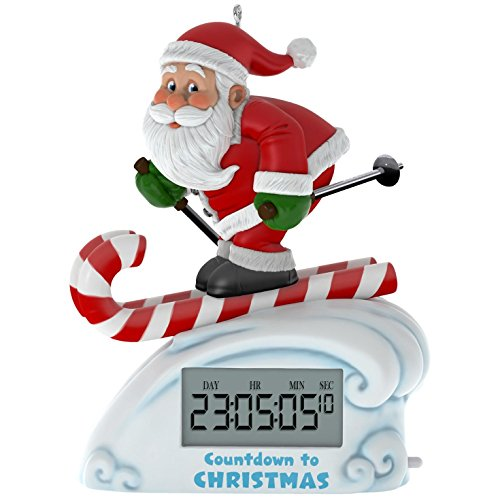 Hallmark Keepsake 2017 Santa Skiing Countdown to Christmas Clock Christmas Ornament With Light - New Years Countdown Clock