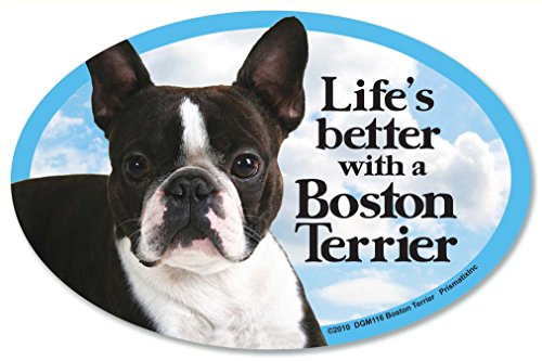 "Boston Terrier Oval Dog Magnet for Cars (and fridges too!). Includes bonus ""I Love My Dog"" (Terrier Dog Car Decal)"