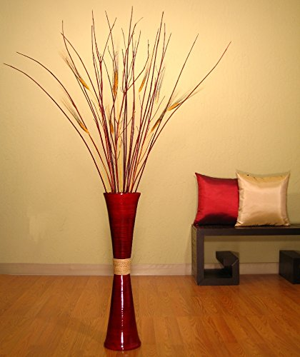 Amazon Trumpet Red Bamboo Floor Vase With Red Dogwood Wheat