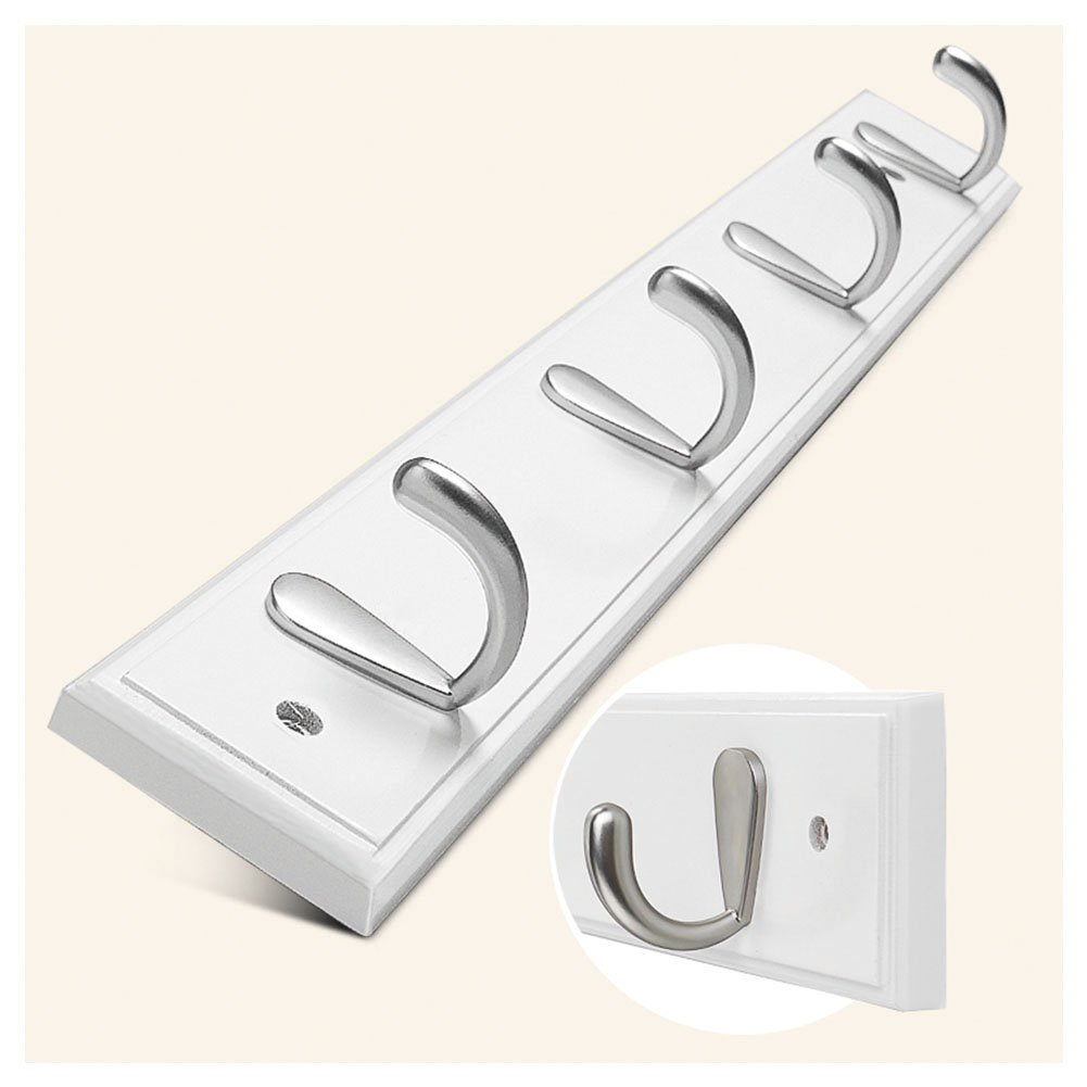 HaloVa Sticky Hook Rack, Wall-Mounted Adhesive Hook Rack, Waterproof Oilproof Easy to Use Hook Rail, Super Load for Coats Bags Scarves Towels and Umbrellas, 4 Hooks, White