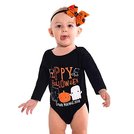 toddler infant baby halloween romper jumpsuit long sleeve letter pumpkin printed costume outfits