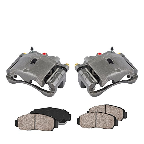 COEK00171 [2] FRONT Premium Loaded OE Caliper Assembly Set + Quiet Low Dust Ceramic Brake Pads