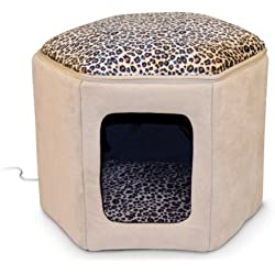"""K&H Pet Products Thermo-Kitty Sleephouse Heated Pet Bed Tan/Leopard 12"""" x 17"""" 4W"""
