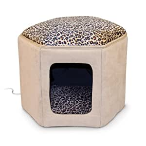 "K&H Pet Products Thermo-Kitty Sleephouse Heated Pet Bed Tan/Leopard 12"" x 17"" 4W"