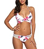 David Salc Women Sexy Halter Lace Up Backless Lace Crochet Patchwork Floral Print Split Bikini Set(S, White)