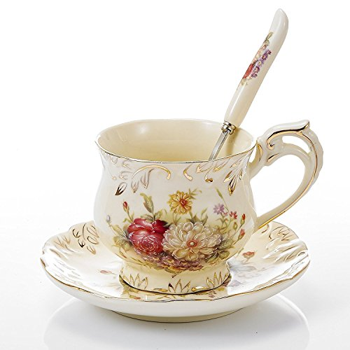 Panbado 3-Piece Ivory China Gold Rimmed Tea Coffee Set Porcelain Flower Tea Service with 8.5 Ounce 4.5