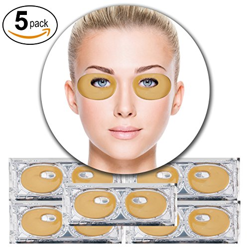 Firming Gel Rejuvenating Eye (Set Kit of 5 Pairs 24K Gold Golden Collagen Gel Crystal Masks Eyelids Patches Eyes Pads for Intense Moisturizing Hydrating, Skin Firming Lifting, Wrinkles Removal and After Sun Sunburn Treatment)