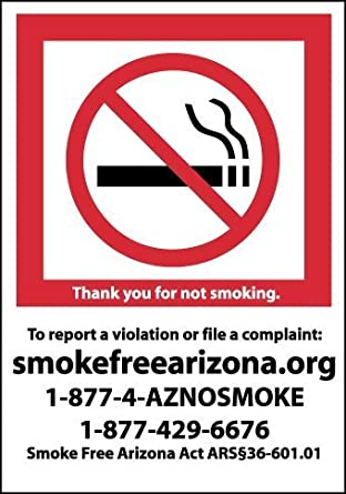 "NMC M713P Arizona No Smoking Sign with Graphic, 10"" Length x 7"" Height, Pressure Sensitive Vinyl, Red/Black on White"