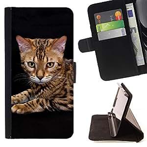 Momo Phone Case / Flip Funda de Cuero Case Cover - Gato Toyger Ocicat Bengala Serengeti; - Samsung Galaxy E5 E500