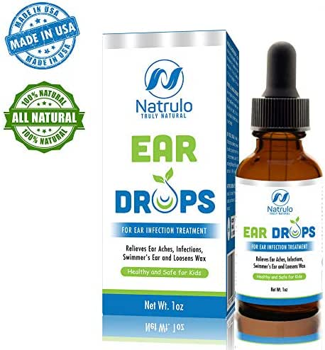 Natrulo Natural Ear Drops for Ear Infection Treatment - Homeopathic, Herbal Eardrops for Adults, Children & Pets - Relieves Ear Aches, Infections, Swimmer's Ear, & Loosens Wax - Kids Safe, Made in USA