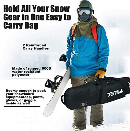 AUMTISC Snowboard Bag Padded for Travel Bag with Storage Compartments Shoulder Strap and Gear Pockets Available Length in 155cm 165cm