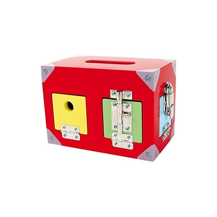 51dCj dLNGL Una caja con muchas ventanas y puertas de colores. Todos están equipados con diferentes cierres. Aquí se necesita atención y resistencia.
