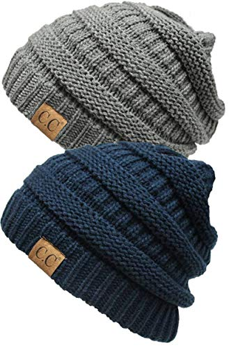 H-6020a-2-3151 Solid Ribbed Beanie Bundle - 1 Navy, 1 Heather Grey (2 Pack)