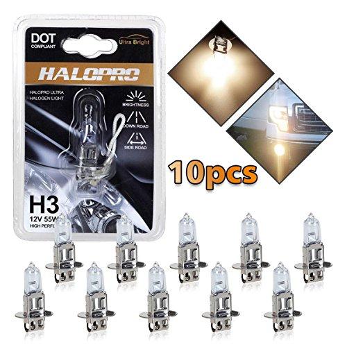 High Performance Series H3 Halogen Fog Driving Lights Bulbs 4300K (Pack of 10)