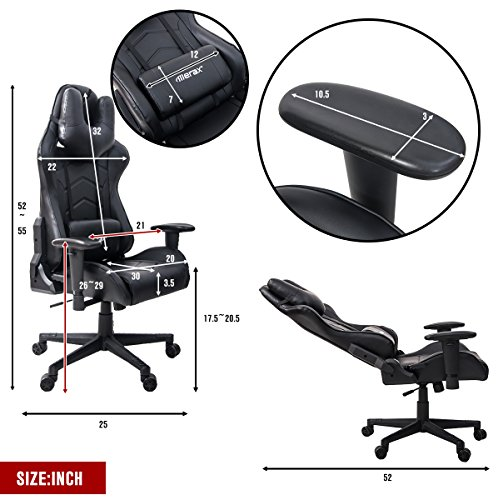 51dCjV%2BIXVL - Merax-U-Knight-Series-Racing-Style-Gaming-Chair-Ergonomic-High-Back-PU-Leather