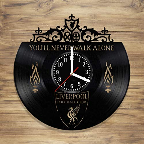 Inch Football Wall 12 Clock - Liverpool F.C. Vinyl Record Wall Clock Football Club Reds YNWA Perfect Art Decorate Home Style Unique Gift idea for Him Her (12 inches)