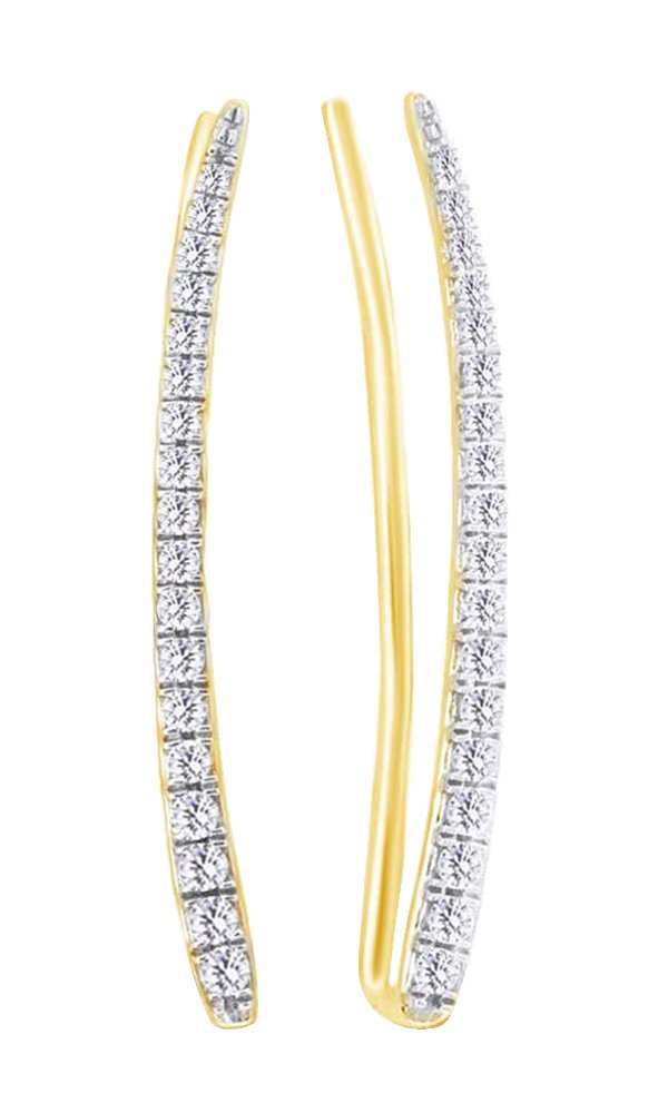 Ear Crawler Earrings In 14k Yellow Gold With (0.25 cttw) Round Cut White Natural Diamond