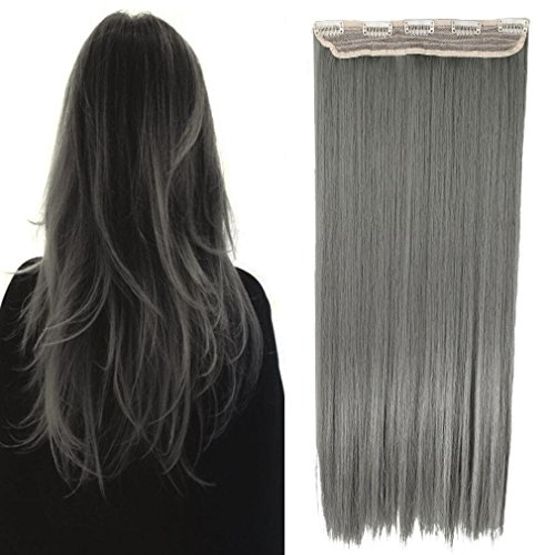 Charming Women 26 Inch 140G Long Clip in Hair Extensions One Piece Hairpiece 3/4 Half Hair Wig with 5 Clips (Gray) (Grey Hair Extensions)