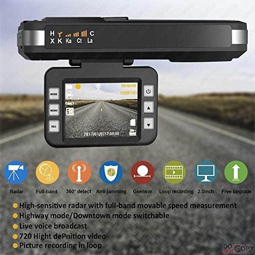 (Radar Detector, 2018 New CAR Speed Trap Detector, with HD DVR Dash CAM, 2 in 1 HD Dash CAM by SMART TECH)