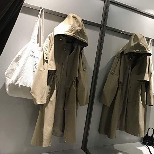 DFSXCZ Automne Britannique Vent Coupe-Vent  Capuche Femme Moyen Longue Genou Section Mince Manteau Dcontract, S, Kaki