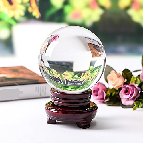 MerryNine Art Decor Clear Crystal Orb With Extra-Wide Stand and Gift Box (3-1/5