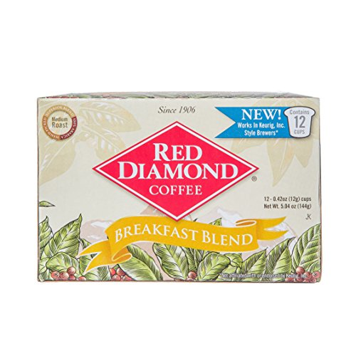 Red Diamond Single Serve K-Cup Coffee, Breakfast Blend, 12 Count (Pack of 6) (72 Servings)