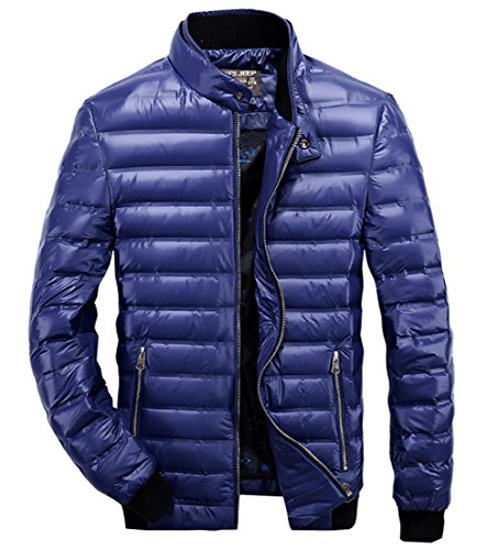 Men's High Quality Winter Warm Lightweight White Duck Down Coat Zipper Quilted Jacket Coats Outwear Tops Royal Blue