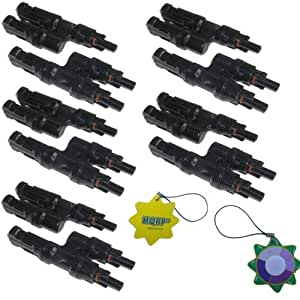 HQRP 5 Pairs MC4 T-branch Solar Panel Connector M/M/F & F/F/M (1F2M & 2F1M) for PV / Photovoltaic System plus HQRP UV Meter