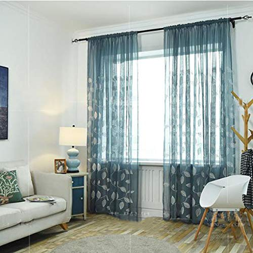 ZYLHC Embroidery Tulle Curtains, Semi Sheer Voile Curtain for Living Room Bedroom Half Blackout Decoration Tulle Drapes 1 Panel-Blue W100h250cm(3998inch)
