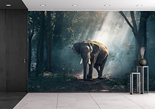 wall26 - Elephants in the forest - Removable Wall Mural | Self-adhesive Large Wallpaper - 66x96 inches