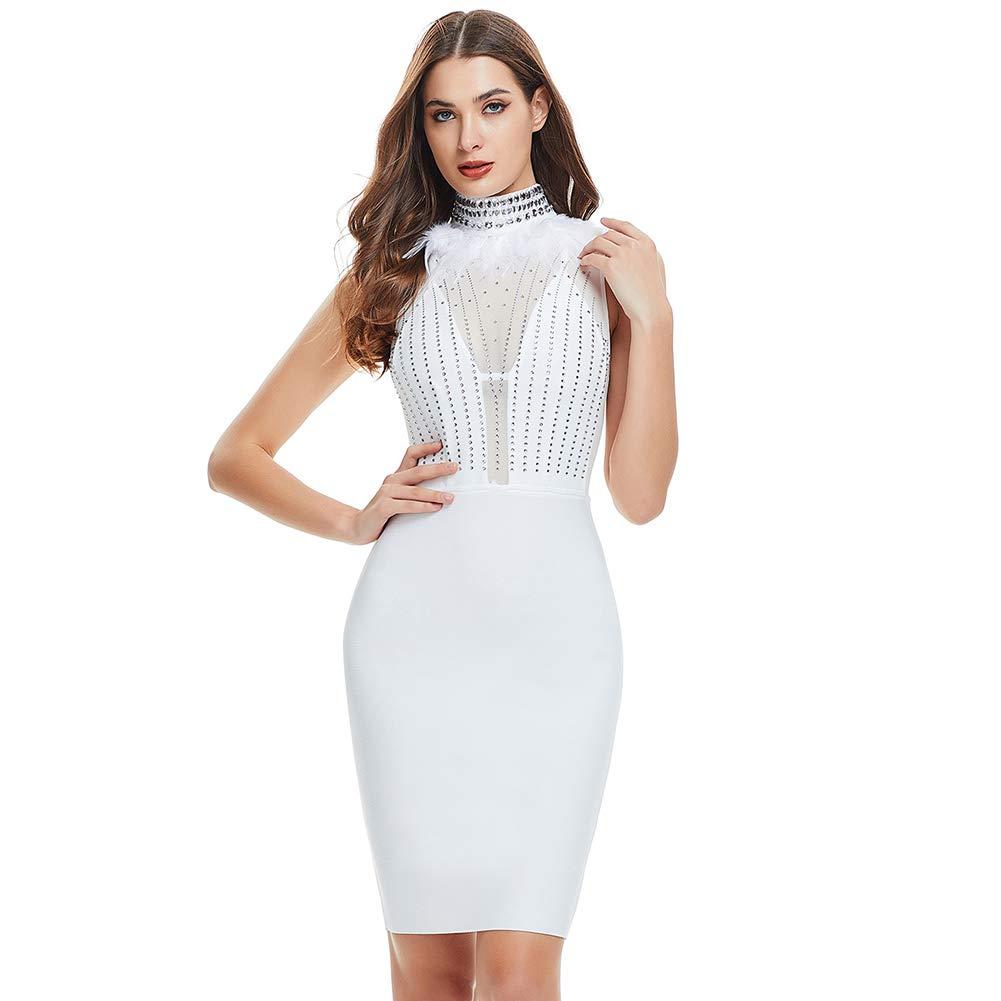 Lovelychica Women's Bodycon Sleeveless Feather Zipper Back Mesh Sexy Slim Party Midi Club Dress White