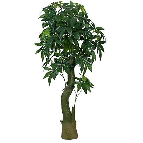 Artificial Plants Money Tree, Large Silk Green Leaves Pachira Macrocarpa Tree, 155cm Tall, With No Pot(480#) (Big Money Tree Plant)