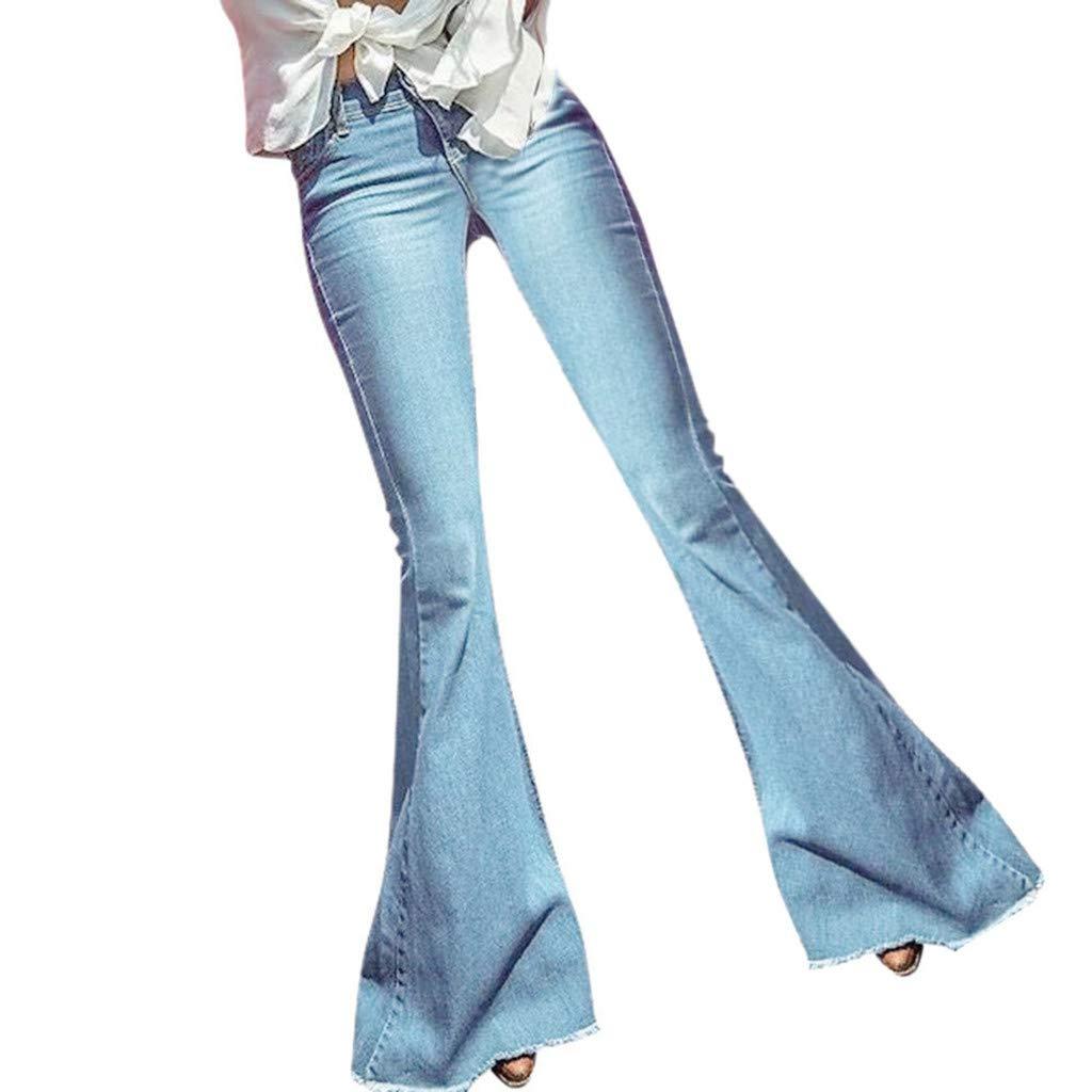 HENWERD Women's Fashion Flare Jeans High Waisted Bell Bottom Raw Hem Denim Pants (Light Blue,XXL) by Henwerd jeans